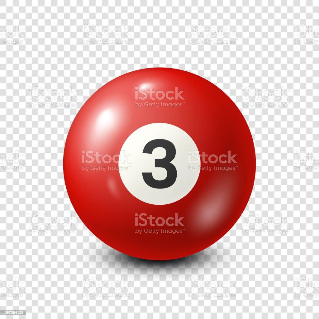 Billiard,red pool ball with number 3.Snooker. Transparent background.Vector illustration vector art illustration