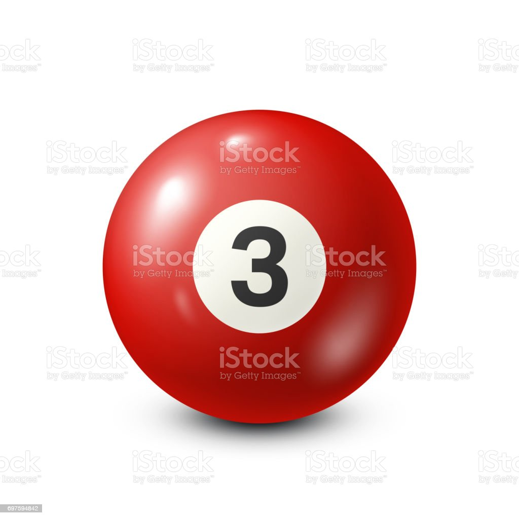 Billiard,red pool ball with number 3.Snooker. White background.Vector illustration vector art illustration