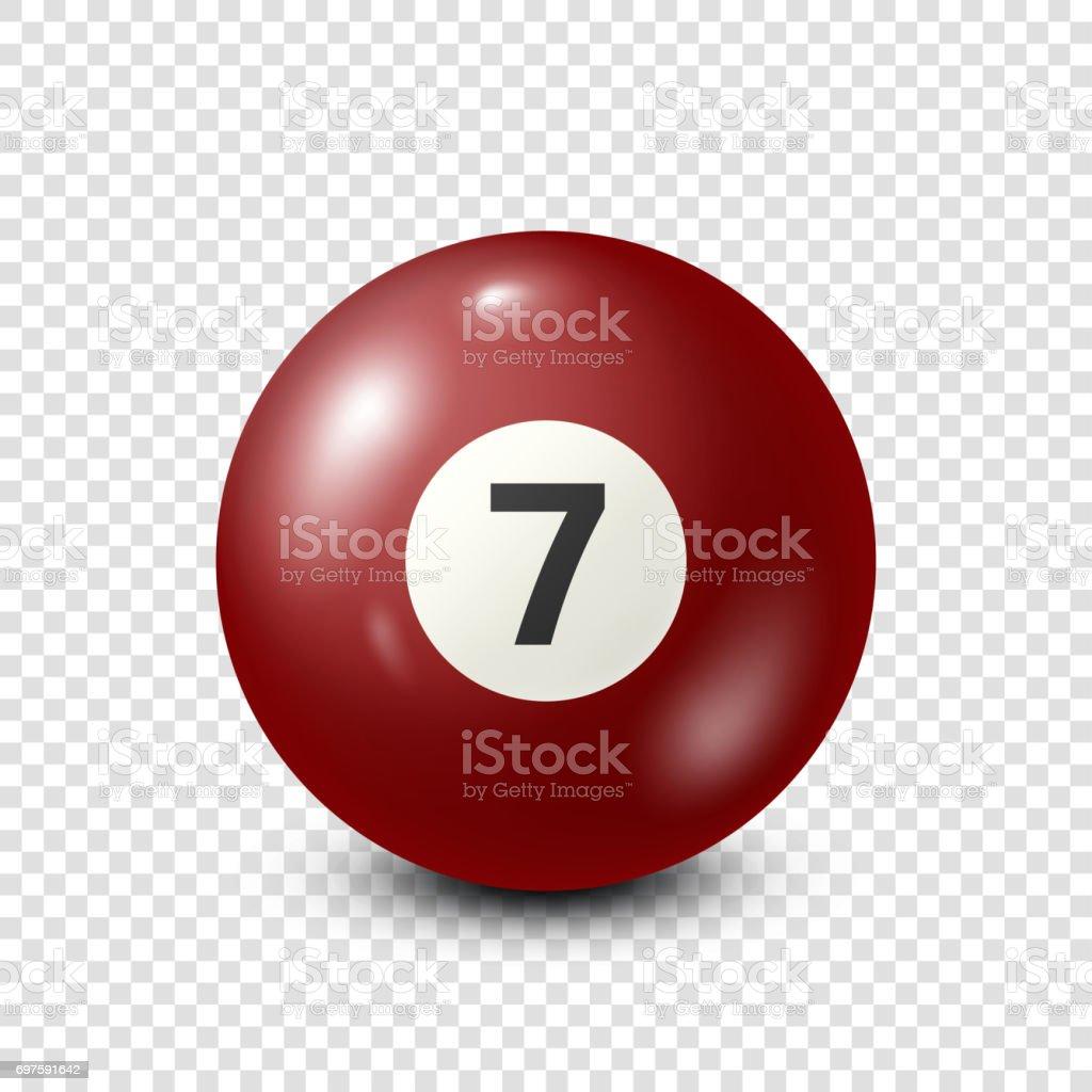 Billiard,red pool ball with number 7.Snooker. Transparent background.Vector illustration vector art illustration