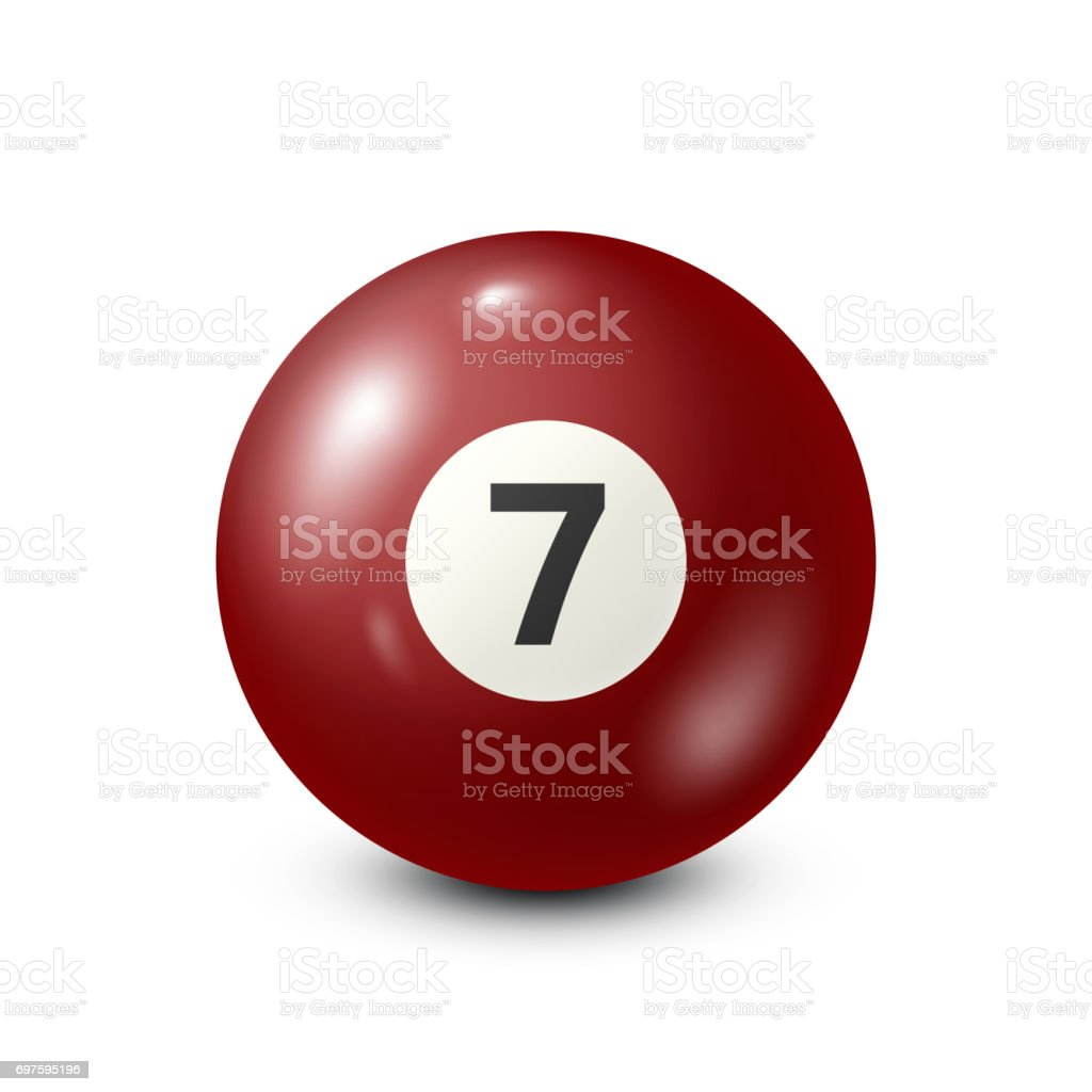 Billiard,red pool ball with number 7.Snooker. White background.Vector illustration vector art illustration