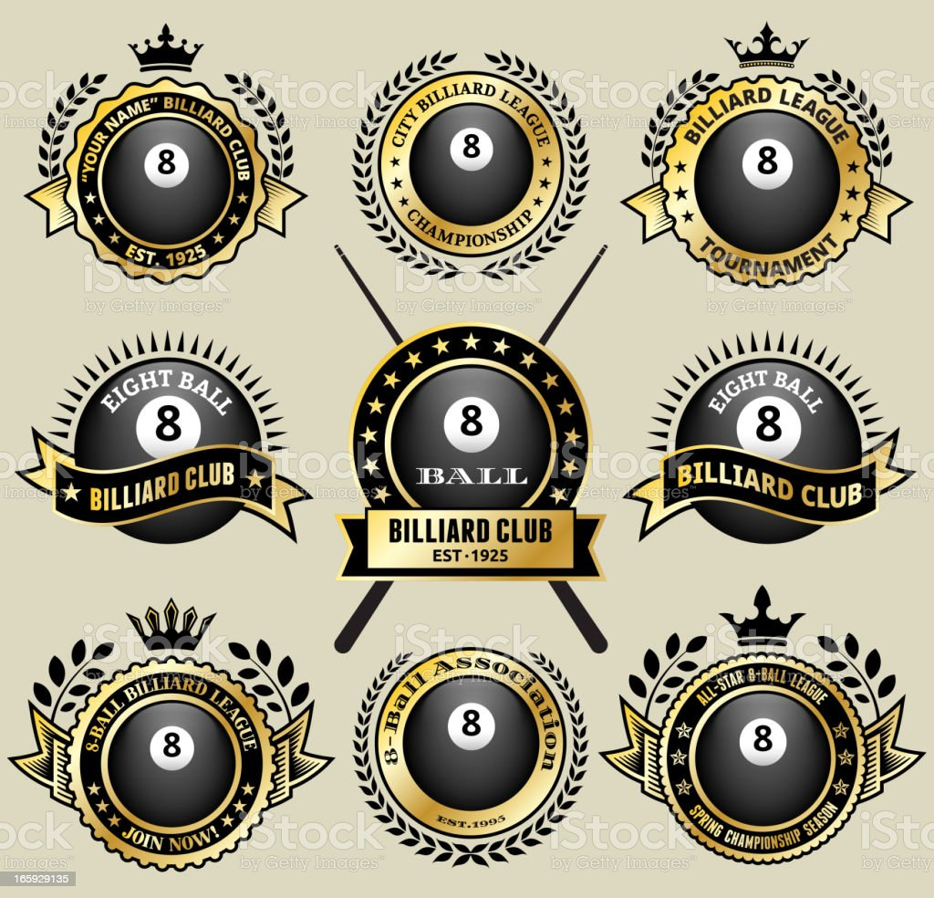 Billiards 8-Ball on black and white Badges vector icon set royalty-free stock vector art