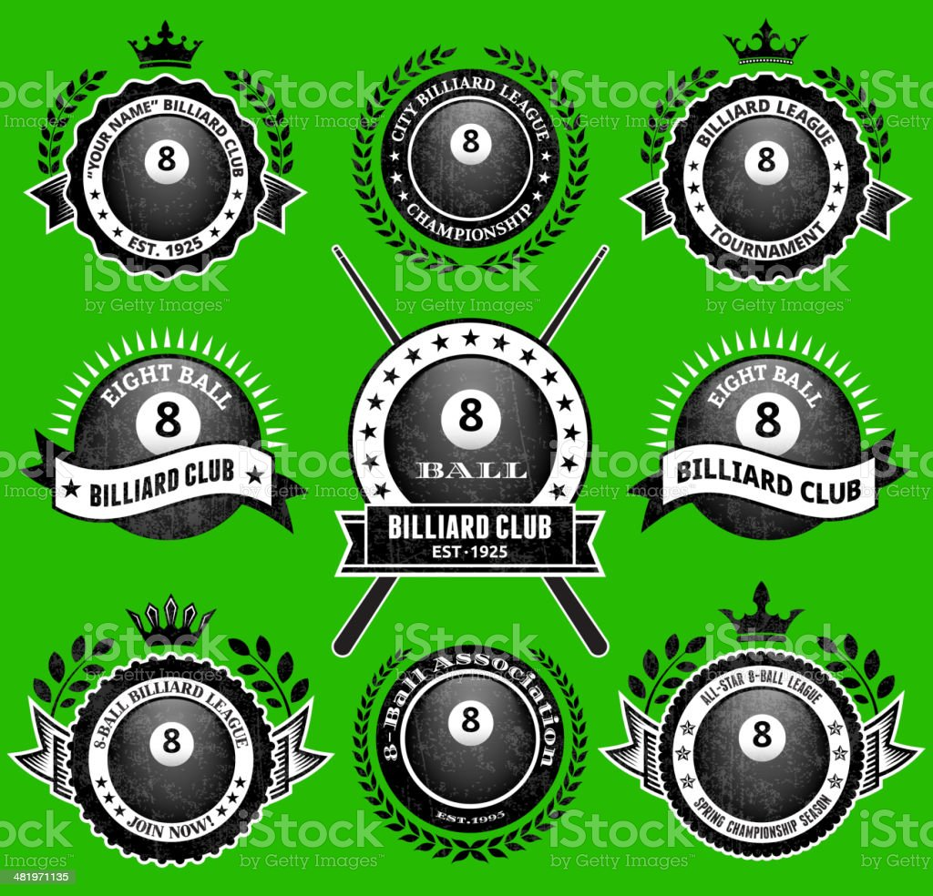 Billiards 8-Ball on Green Badges royalty free vector icon set royalty-free stock vector art