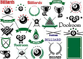 Billiards and pool items for sport game design