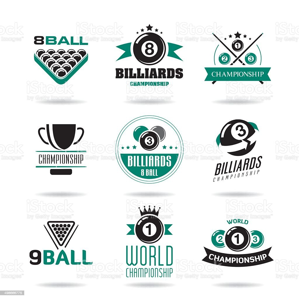 Billiards and snooker icons set. vector art illustration