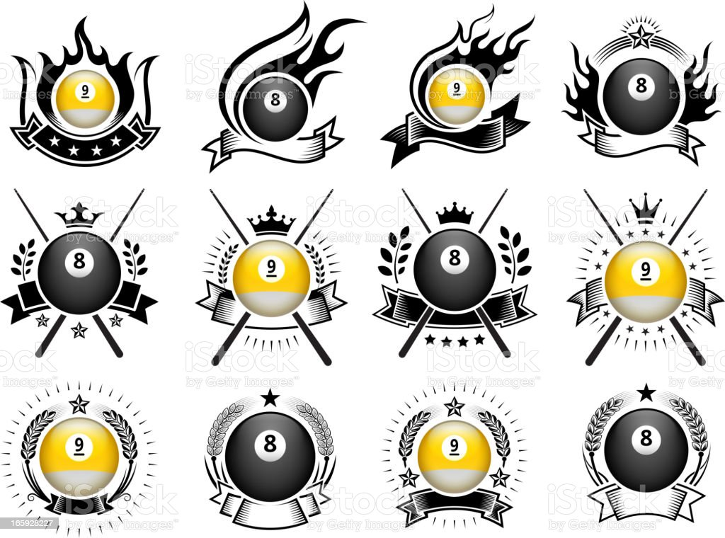 Billiards Ball Badges black and white royalty-free vector icon set vector art illustration