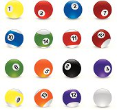 Vector Illustration of pool balls at different angles. See my portfolio for other pool illustrations.