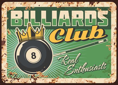 Billiards club rusty metal plate, vintage tin sign