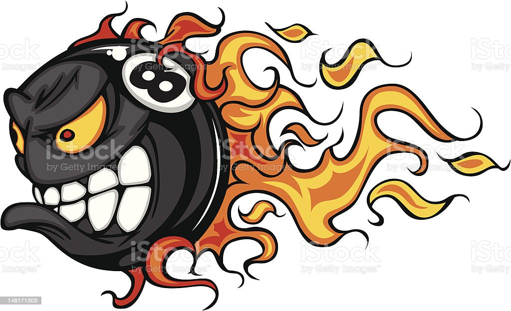 Billiards Eight Ball Flaming Face Vector Image vector art illustration