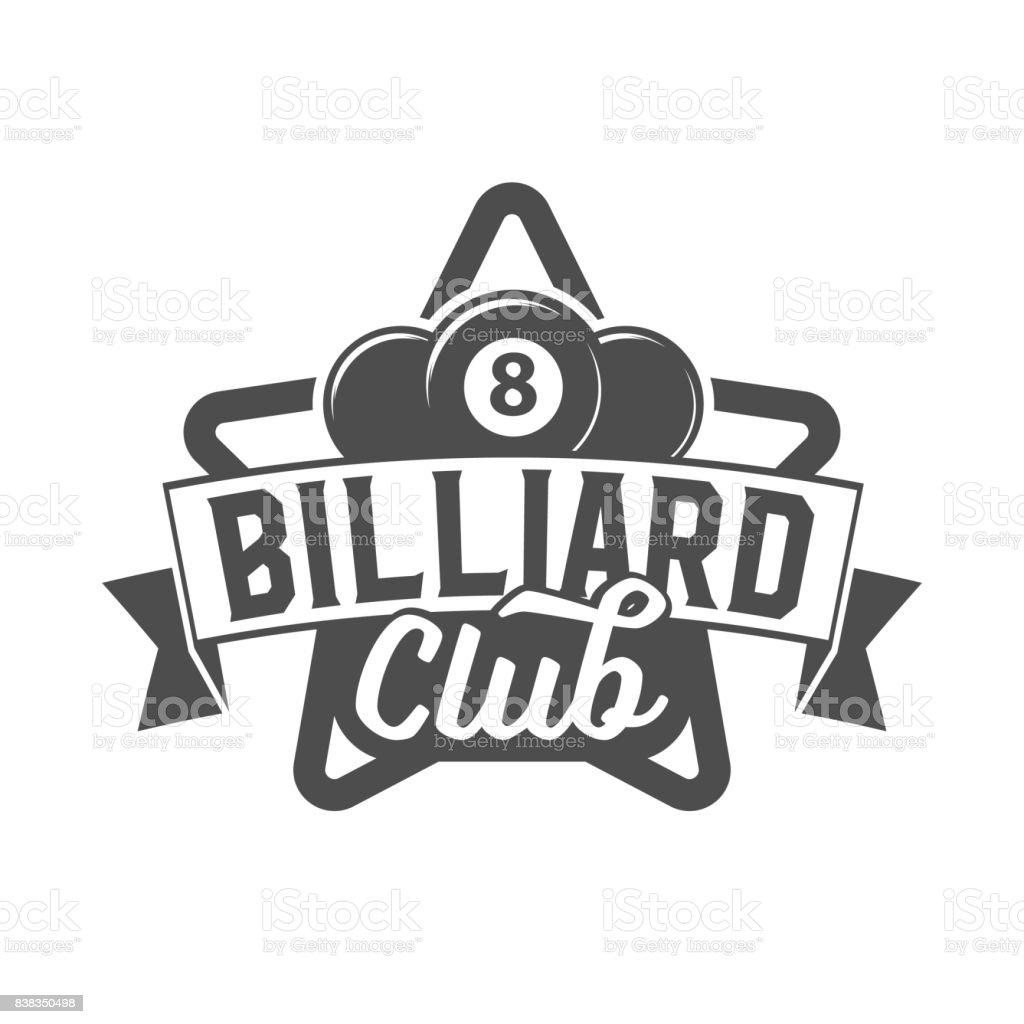 billiards emblem label and designed elements vector art illustration