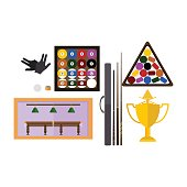 Billiards game equipment vector.