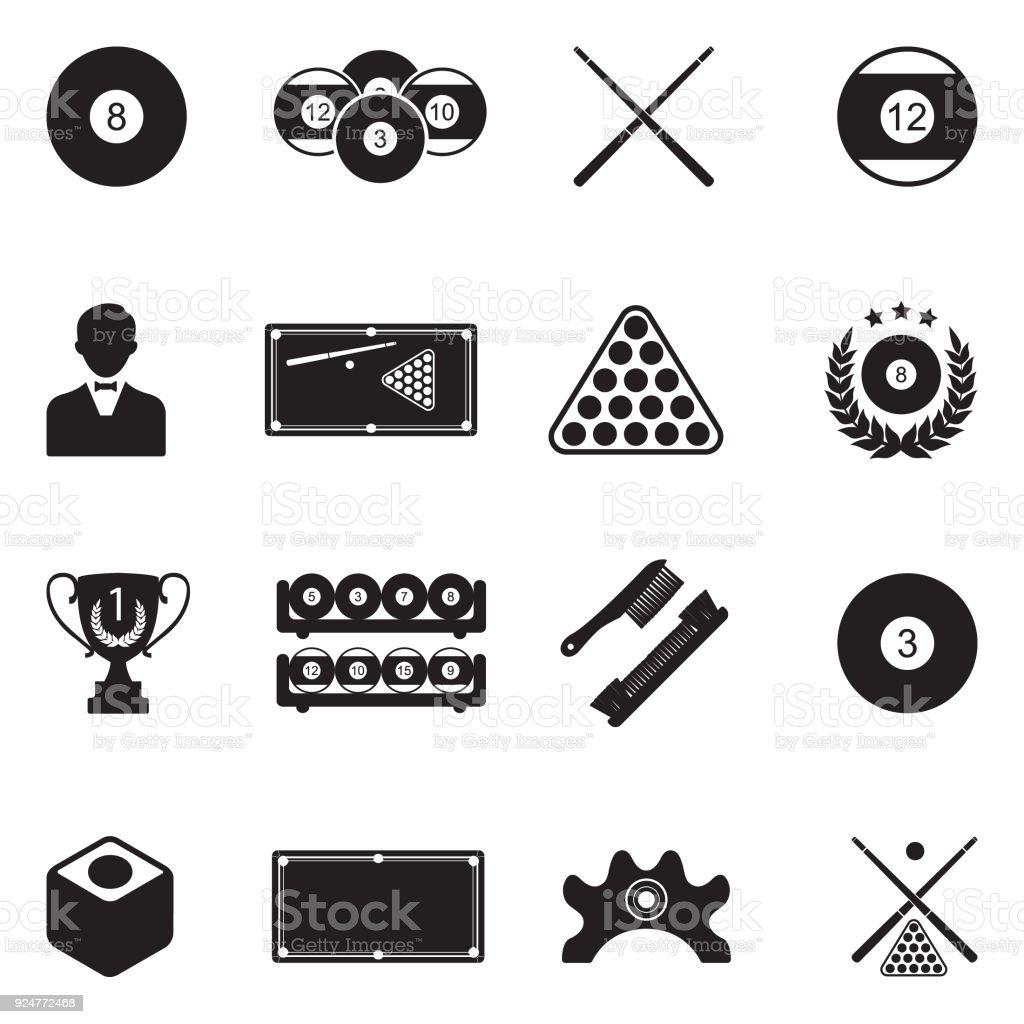 Billiards Icons. Black Flat Design. Vector Illustration. vector art illustration