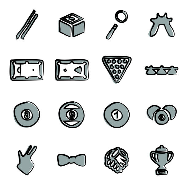 billard symbole freihand 2 farbe - bleistifthalter stock-grafiken, -clipart, -cartoons und -symbole