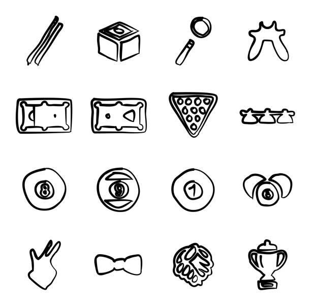 billard-icons freihand - bleistifthalter stock-grafiken, -clipart, -cartoons und -symbole