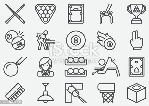 istock Billiards Line Icons 1044070906