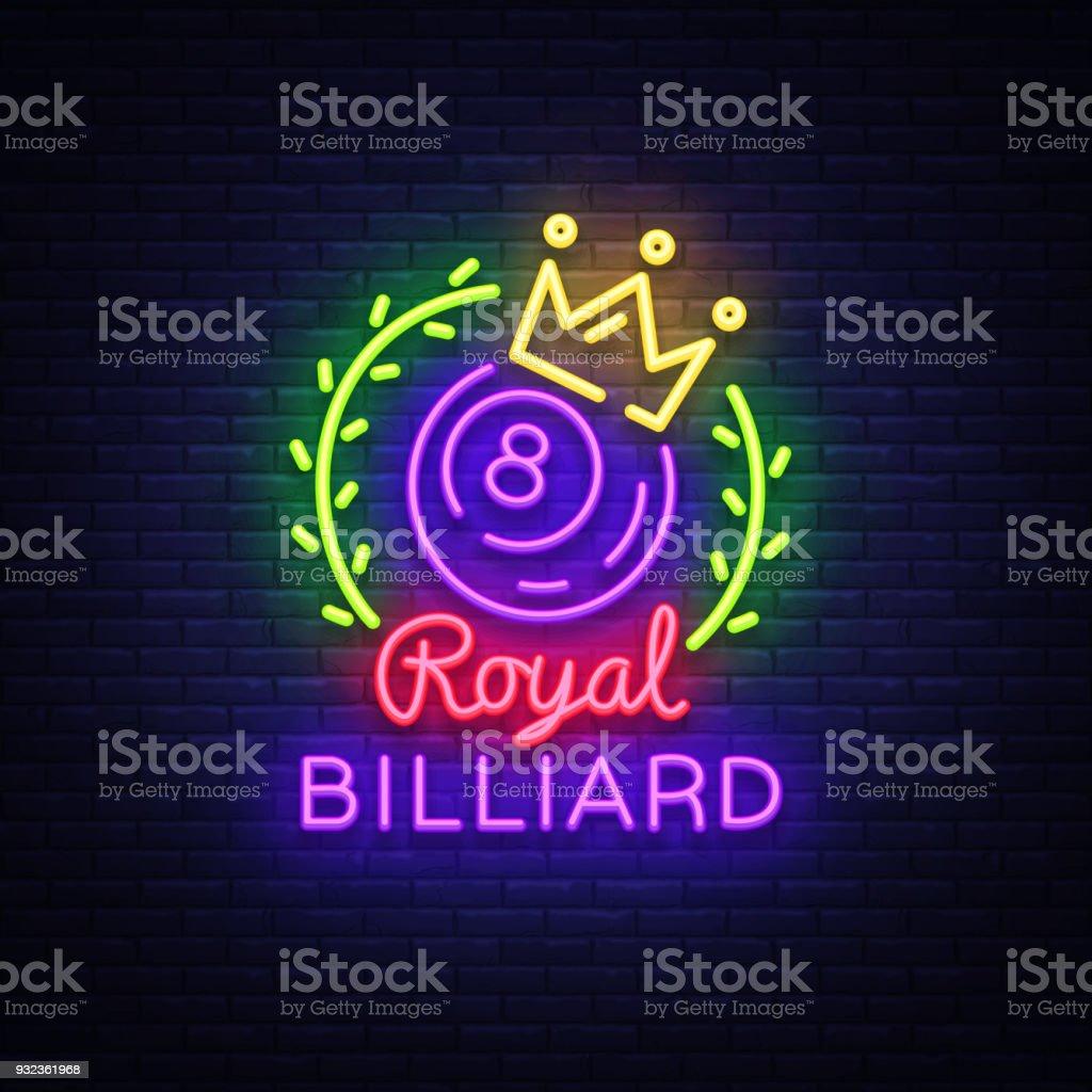 Billiards neon sign royal billiards logo in neon style light billiards neon sign royal billiards logo in neon style light banner design template buycottarizona Choice Image