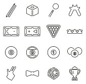 Billiards or Pool Sport & Equipment Icons Thin Line Vector Illustration Set