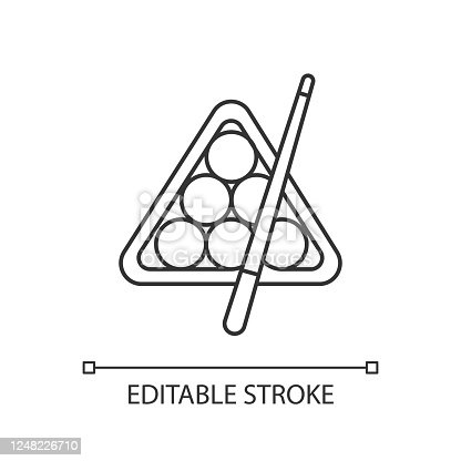 istock Billiards pixel perfect linear icon. Thin line customizable illustration. Pub game, entertainment, leisure activity contour symbol. Vector isolated outline drawing. Editable stroke 1248226710