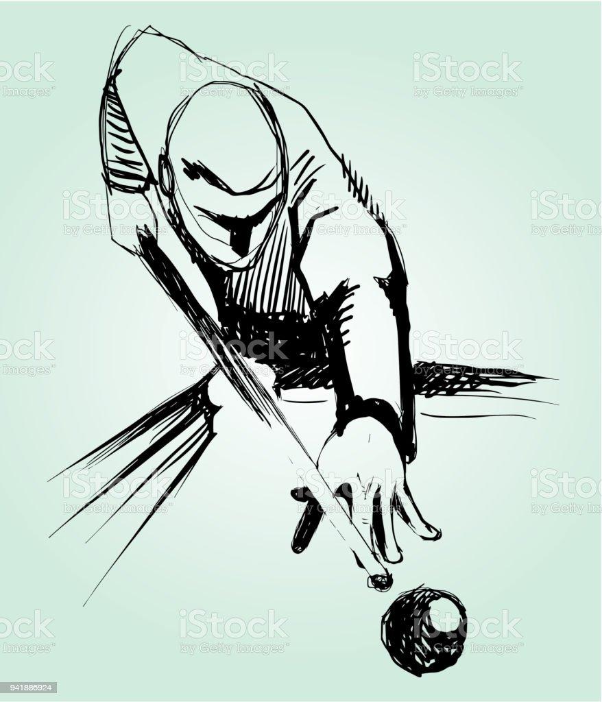 Billiards player sketch. vector art illustration