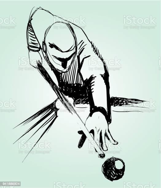 Billiards Player Sketch Stock Illustration - Download Image Now