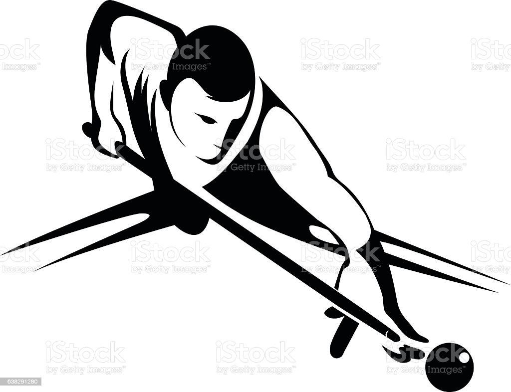 Billiards player. vector art illustration