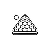 Billiards rack hand drawn sketch icon