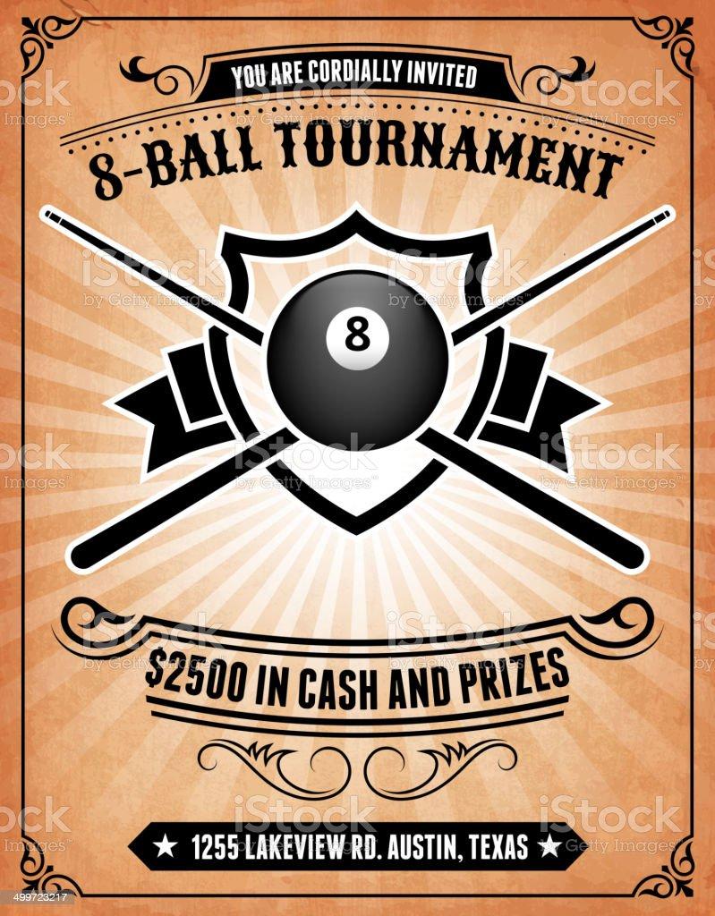 Billiards Tournament on royalty free vector Background Poster vector art illustration