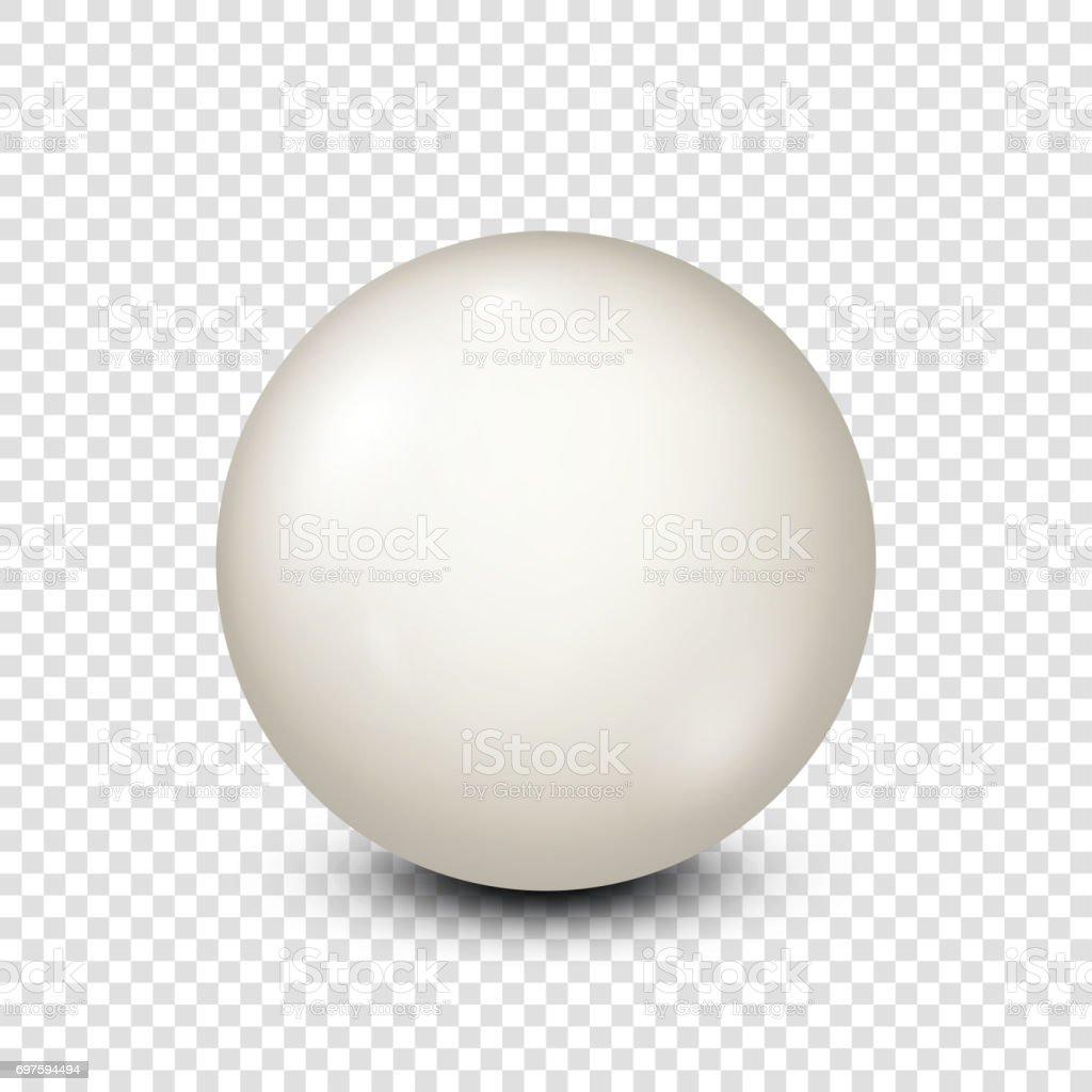 Billiard,white pool ball. Snooker. Transparent background. Vector illustration vector art illustration