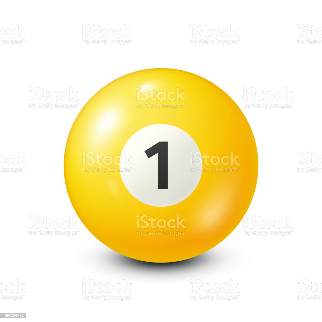 Billiard,yellow pool ball with number 1.Snooker. White background.Vector illustration vector art illustration