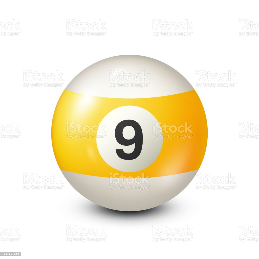 Billiard,yellow pool ball with number 9.Snooker. Transparent background.Vector illustration vector art illustration