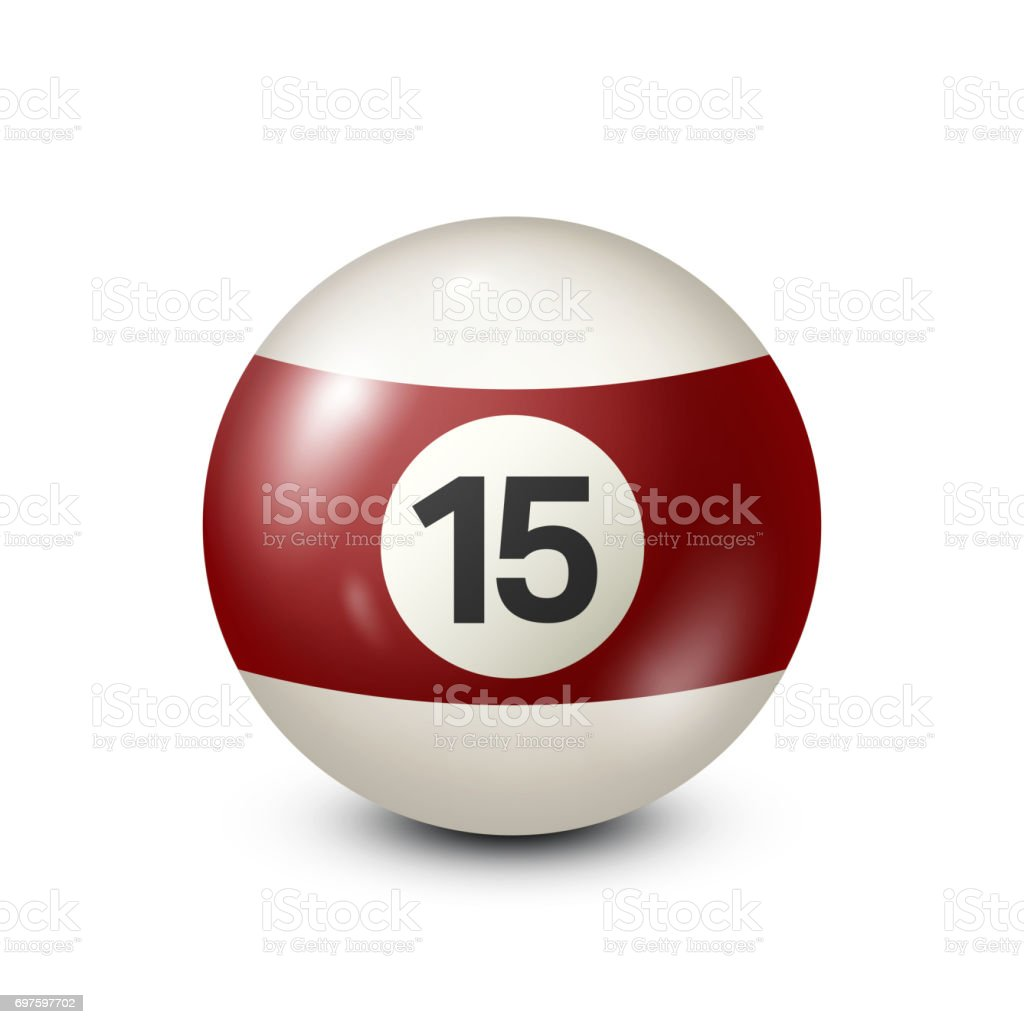 Billiard,yellred ow pool ball with number 15.Snooker. Transparent background.Vector illustration vector art illustration
