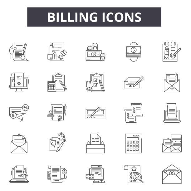 stockillustraties, clipart, cartoons en iconen met billing line iconen voor web en mobiele design. bewerkbare lijn tekens. facturering outline concept illustraties - snavel