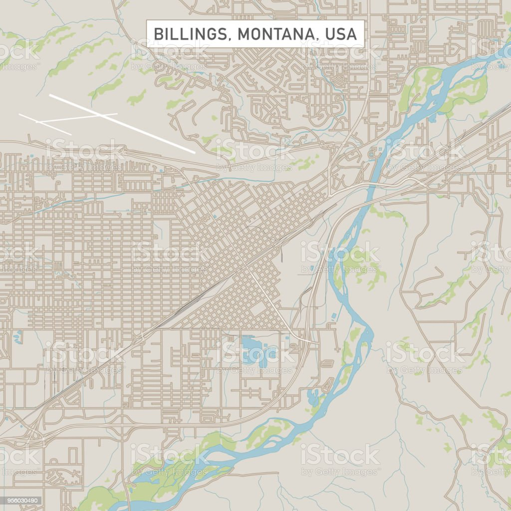 Billings Montana Us City Street Map Stock Vector Art More Images
