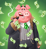 Money raining dwon on a rich, fat pig smoking a cigar, looking at the camera. Vector illustration. Concept for capitalism, , enormous wealth, greed, success, finance and economy, corporate business and corruption.