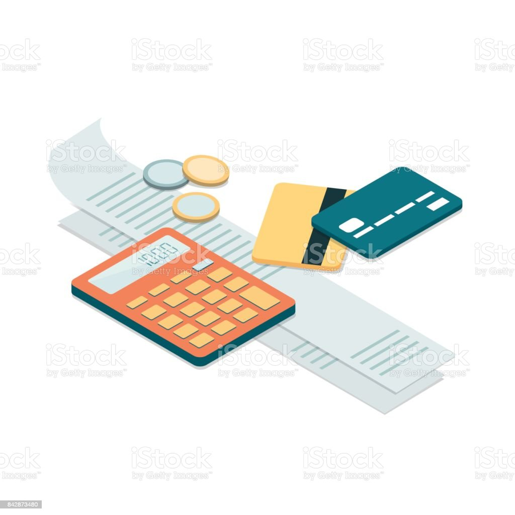 Bills and payments vector art illustration