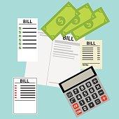 Bills for utilities, receipts. Flat design, vector illustration, vector.