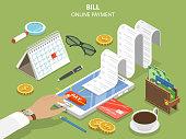 Bills online payment flat isometric vector concept