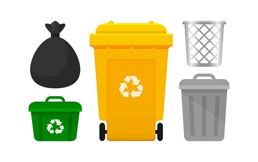 Binsammlung Gelbe Papierkorb Und Plastiktüten Abfall Isoliert Auf Weißem Hintergrund Behälter Mit Recyclingabfallsymbol Frontansicht Set Der Behälter