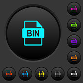 Bin file format dark push buttons with color icons