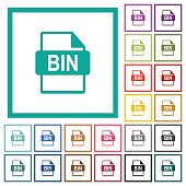 Bin file format flat color icons with quadrant frames