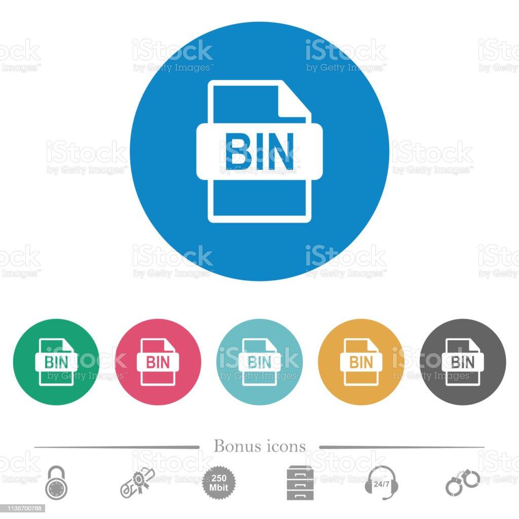 Bin File Format Flat Round Icons Stock Illustration - Download Image