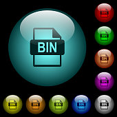 Bin file format icons in color illuminated glass buttons