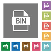 Bin file format square flat icons