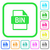 Bin file format vivid colored flat icons icons