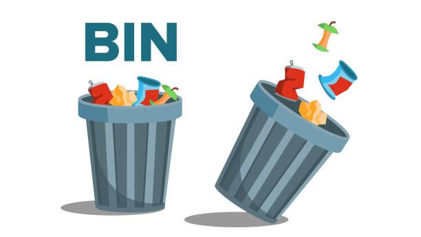 Bin Garbage Vector. Full Of Trash. Inverted. Isolated Flat Illustration Bin Garbage Vector. Full Of Trash. Inverted. Isolated Illustration obsolete stock illustrations
