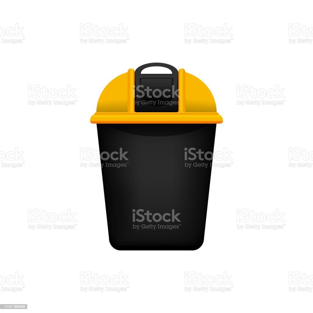 Bin Recyclez Le Petit Bac Jaune Plastique Pour Les Dechets Isoles Sur Le Fond Blanc Bac Jaune Avec Le Symbole De Dechets De Recyclage Vue Avant De La Couleur Jaune De Bac