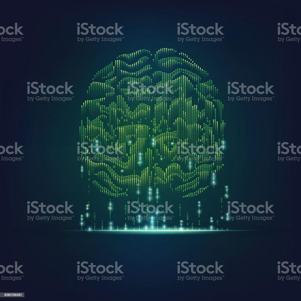 binary brain vector art illustration