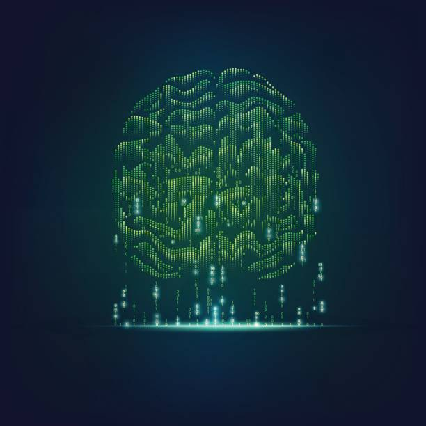 binary brain vector art illustration