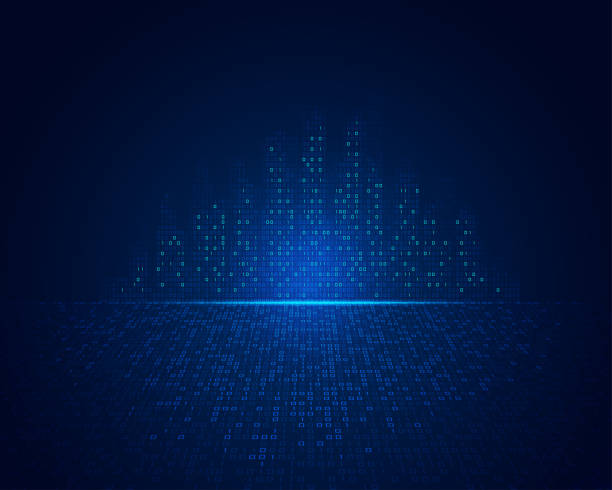 binary city concept of technology in city or smart city, shape of buildings combined with binary code binary code stock illustrations