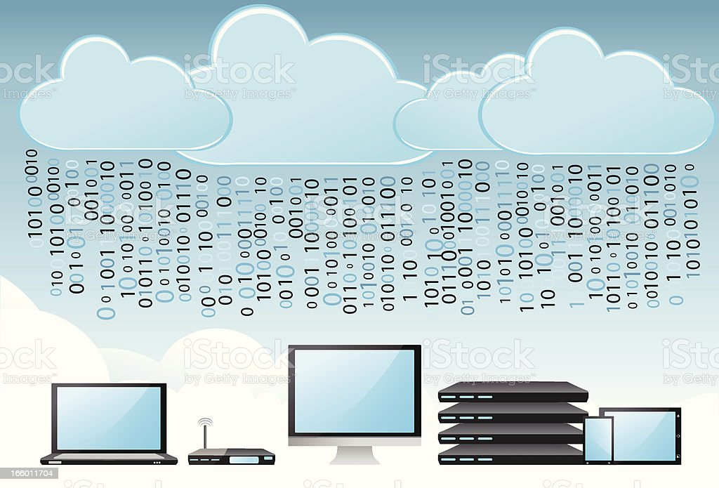 Binary cloud computing concept royalty-free stock vector art
