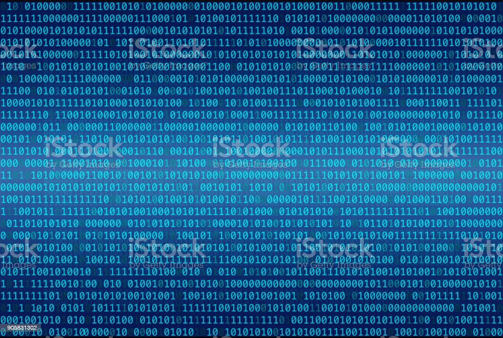 Binary code abstract background, Digital communication code. vector art illustration
